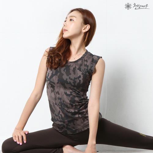 2337 카모플라쥬 민소매 티셔츠_초코블랙