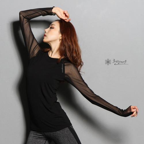 E2362 섹시매쉬 포인트 티셔츠_블랙